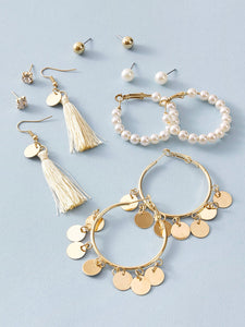 6pairs Tassel & Disc Decor Earrings