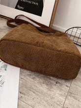 Load image into Gallery viewer, Side Pocket Corduroy Tote Bag