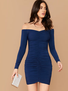 SHEIN Off Shoulder Ruched Bodycon Dress