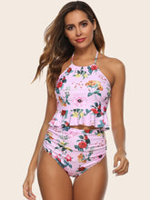 Load image into Gallery viewer, Floral Print Ruffle Trim High Waisted Bikini Swimsuit