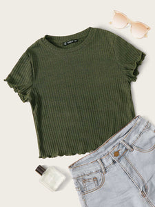 SHEIN Lettuce Trim Rib-knit Top