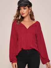 Load image into Gallery viewer, SHEIN Solid Drop Shoulder Rib-knit Top