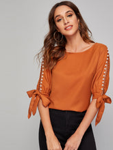 Load image into Gallery viewer, SHEIN Pearl Beaded Knot Cuff Top