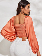 Load image into Gallery viewer, Ruched Drawstring Detail Shirred Back Crop Top