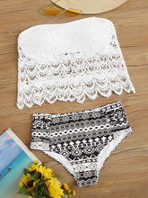 Load image into Gallery viewer, Geo Crochet Bandeau High Waisted Bikini Swimsuit