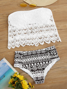 Geo Crochet Bandeau High Waisted Bikini Swimsuit