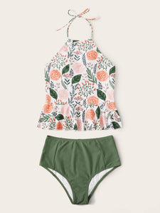 Floral Random Print Halter High Waisted Bikini Swimsuit