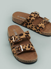 Load image into Gallery viewer, Twin Buckles Cork Footbed Leopard Slides