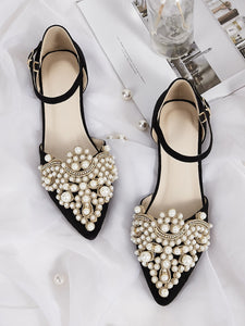Point Toe Faux Pearl Decor Ankle Strap Flats