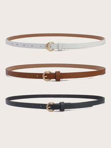 3pcs Metal Buckle Belts Set