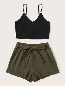 SHEIN O-ring Cami Crop Top & Belted Cuffed Shorts Set