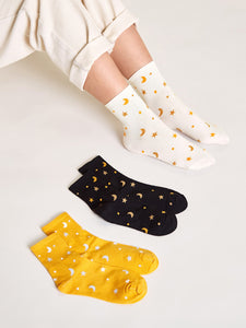 3pairs Star & Moon Pattern Socks