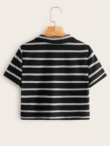 SHEIN Collared V-neck Rib-knit Striped Tee