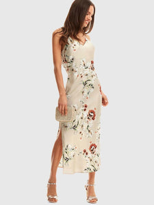 SHEIN Floral Criss Cross Draped Back Cami Satin Dress