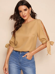 SHEIN Pearl Beaded Knot Cuff Top