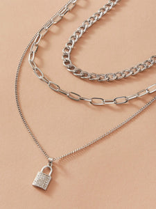 2pcs Lock Charm & Chain Necklace