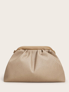 Woven Pattern Ruched Crossbody Bag