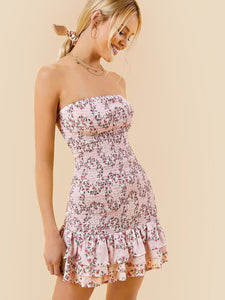 SHEIN Tiered Ruffle Hem Ditsy Floral Shirred Tube Dress