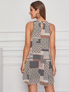 Keyhole Back Patchwork Tank Dress