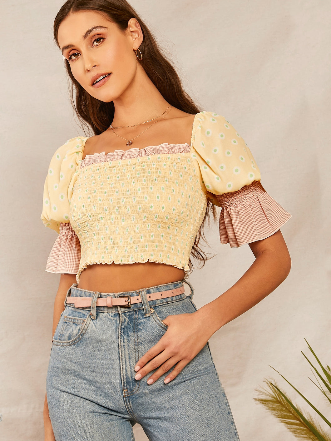 SHEIN Ruffle Cuff Shirred Floral Print Crop Top