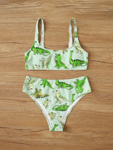 Load image into Gallery viewer, Dinosaur Print High Waist Bikini Swimsuit