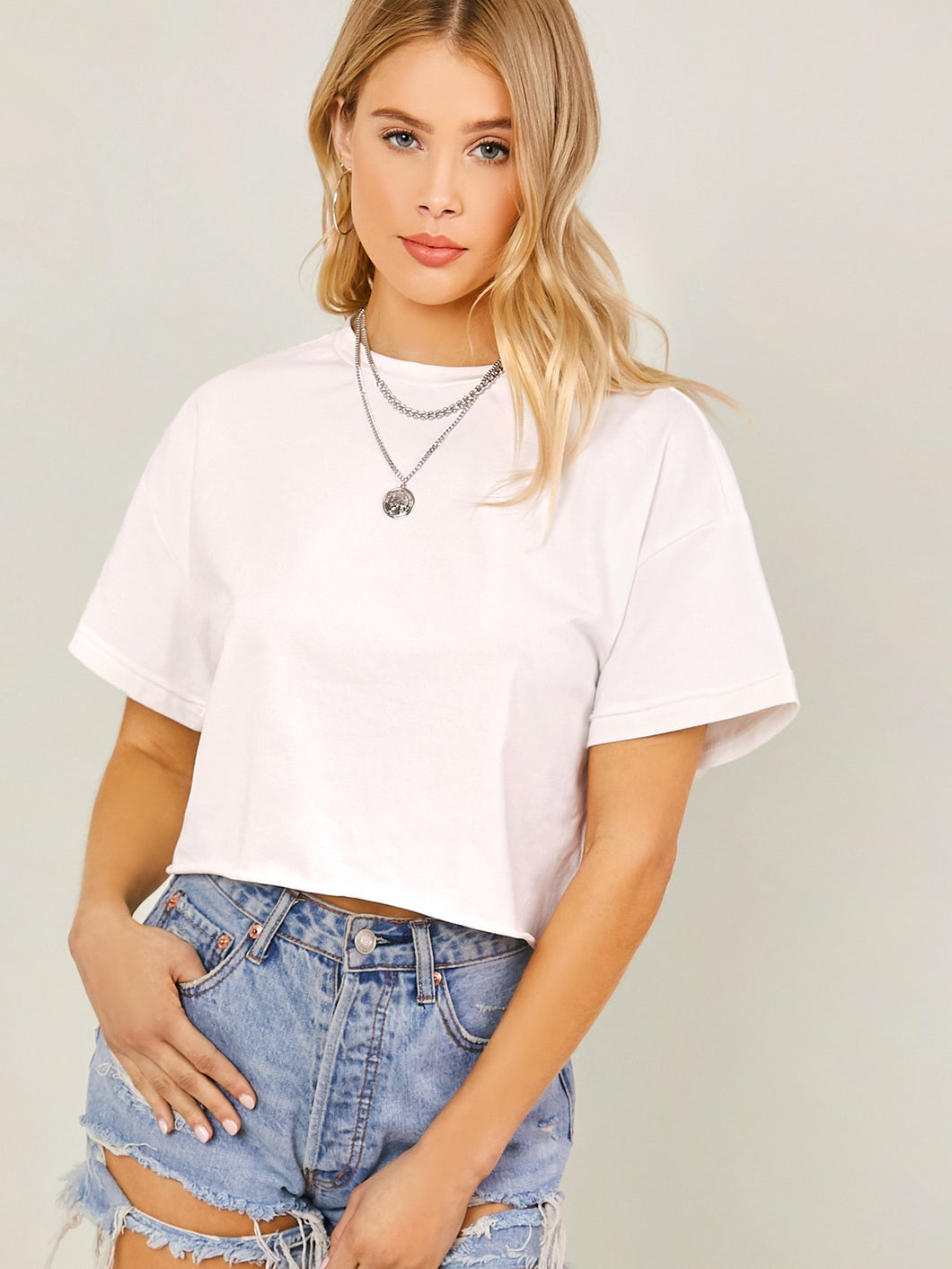SHEIN Solid Drop Shoulder Boxy Top