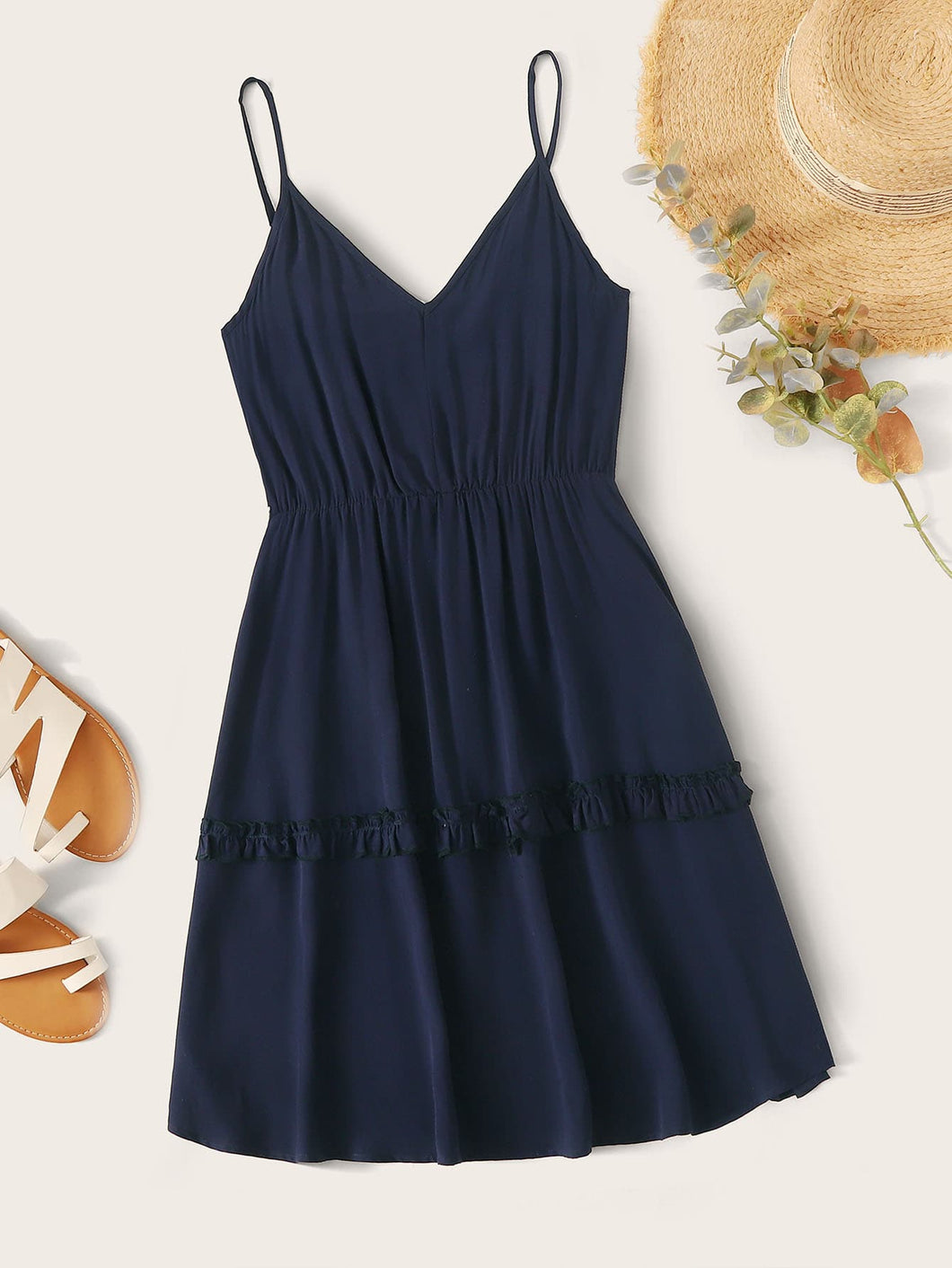 Frill Trim Solid Cami Dress