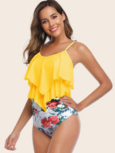Load image into Gallery viewer, Hanky Hem Floral High Waisted Bikini Swimsuit