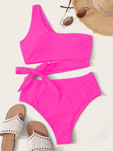 Load image into Gallery viewer, One Shoulder High Waisted Bikini Swimsuit
