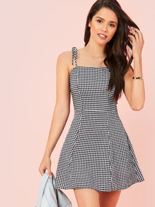 SHEIN Zipper Back Knot Shoulder Gingham Slip Dress