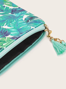 Tropical Leaf Print Purse