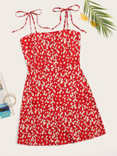 Load image into Gallery viewer, Plus Ditsy Floral Tie Shoulder Cami Dress