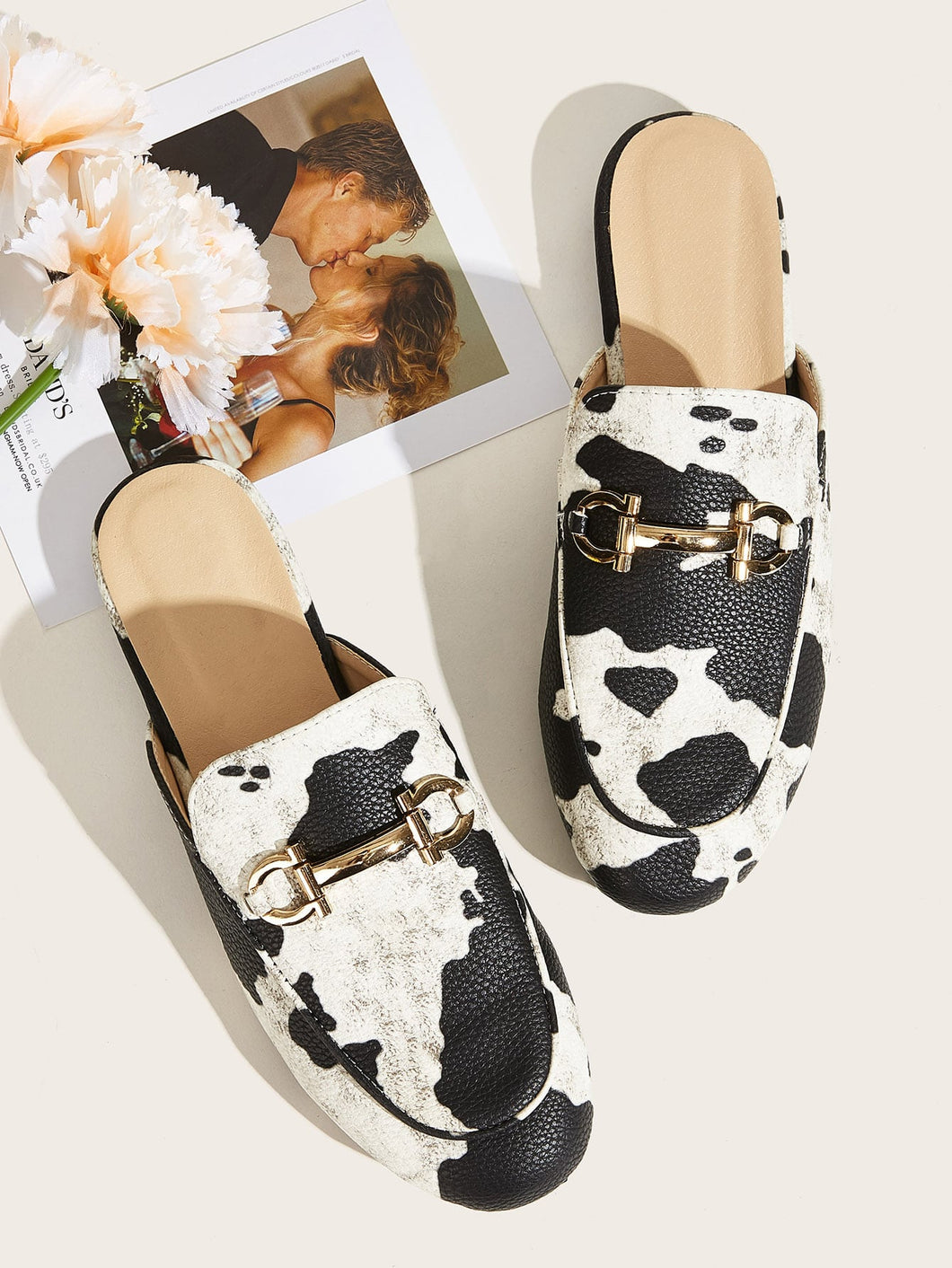 Cow Pattern Horsebit Loafers Mules