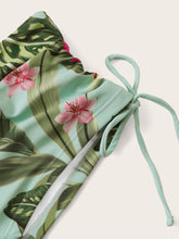Load image into Gallery viewer, Tropical Hanky Hem Drawstring Side Bikini Swimsuit
