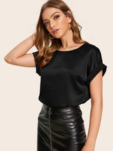 Load image into Gallery viewer, SHEIN Cuffed Satin Top