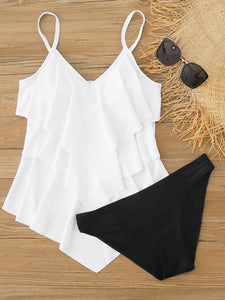 Tiered Layer Hanky Hem Bikini Swimsuit