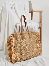 Load image into Gallery viewer, Fringe Trim Woven Tote Bag