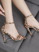 Load image into Gallery viewer, Leopard Print Ankle Strap Stiletto Heels