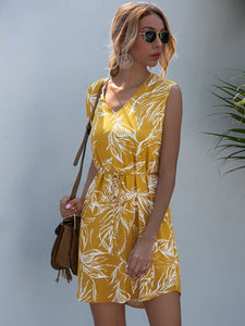 Plants Print Belted Tunic Dress