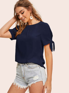 SHEIN Knot Cuff Split Sleeve Pleated Front Top