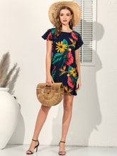 Load image into Gallery viewer, Tropical Print Flounce Sleeve Tunic Dress