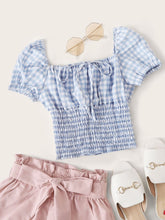 Load image into Gallery viewer, Gingham Square Neck Shirred Milkmaid Top