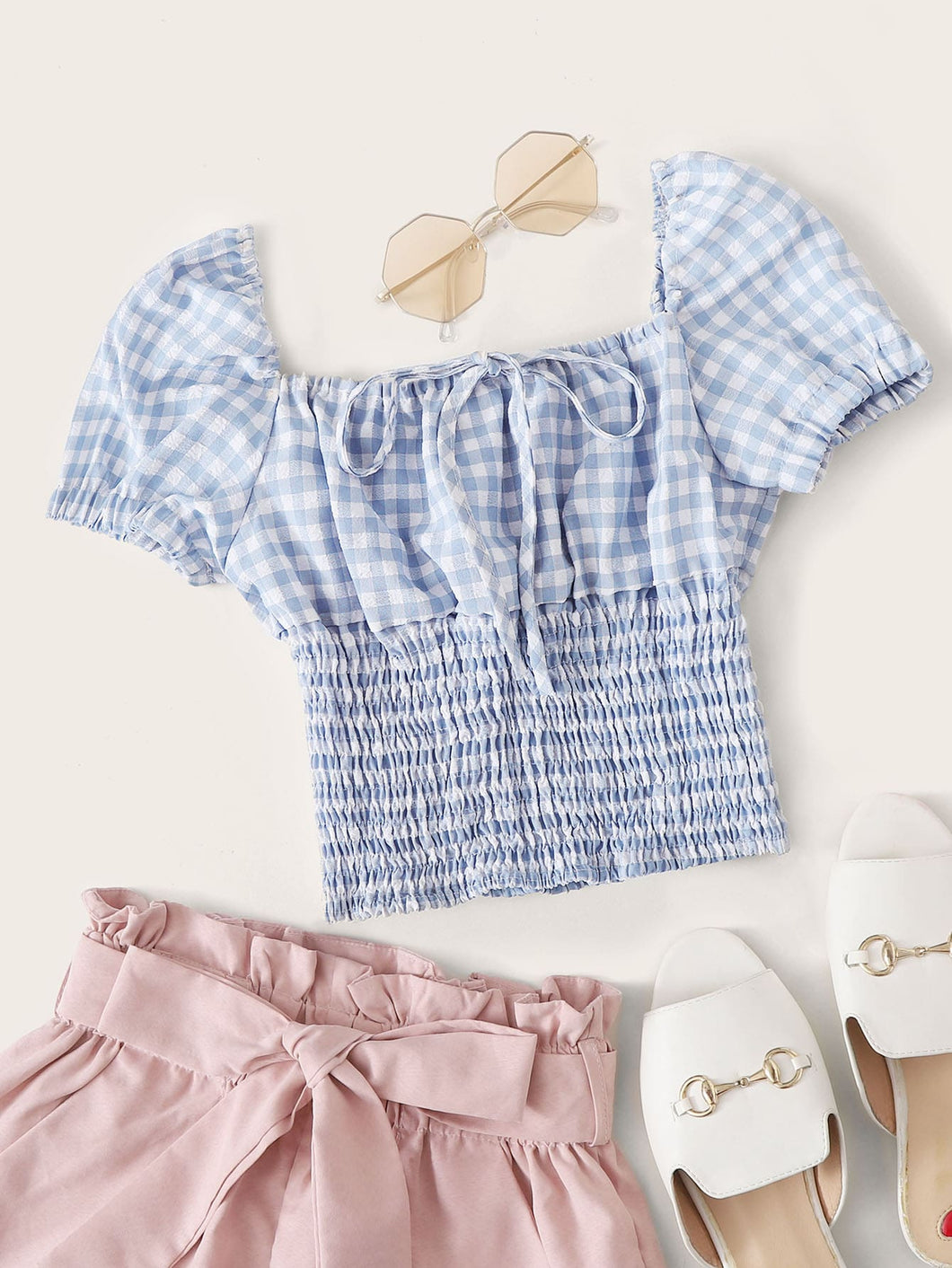 Gingham Square Neck Shirred Milkmaid Top