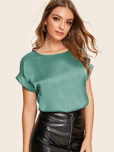 SHEIN Cuffed Satin Top