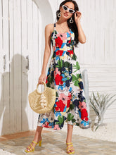 Load image into Gallery viewer, Floral Print Crisscross Cami Dress