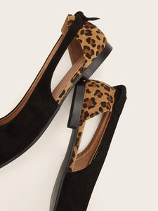 Point Toe Leopard Panel Flats
