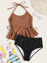 Load image into Gallery viewer, Rib Lace Up Side High Waisted Bikini Swimsuit