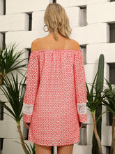 Load image into Gallery viewer, D&M Off Shoulder Guipure Lace Insert Bell Sleeve Schiffy Dress