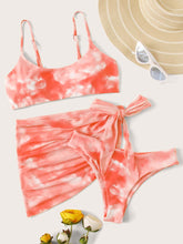Load image into Gallery viewer, Tie Dye Bikini Swimsuit With Tie Side Beach Skirt