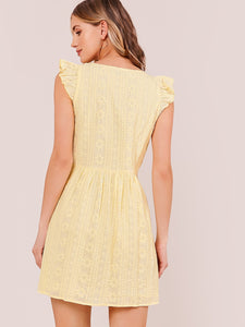 SHEIN Ruffle Trim Embroidered Dress
